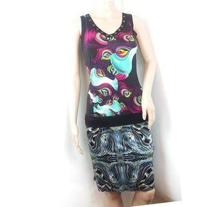 Custo Barcelona Colorful Abstract Sleevess Dress